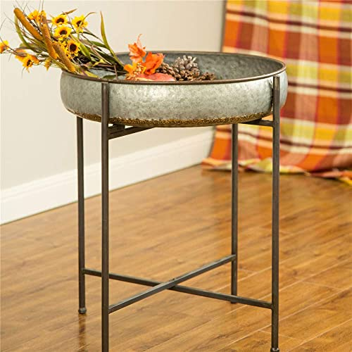 Glitzhome Rustic Metal Tray Side Table Accent Decor Galvanized End Table Shelf with Foldable Legs for Coffee Table