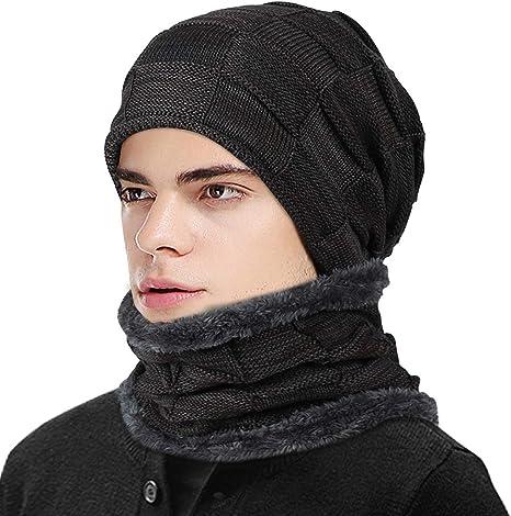 EDOTON Unisex Winter Beanie Hat Scarf Set Warm Knitted Hat Thick Skull Cap for Men Women