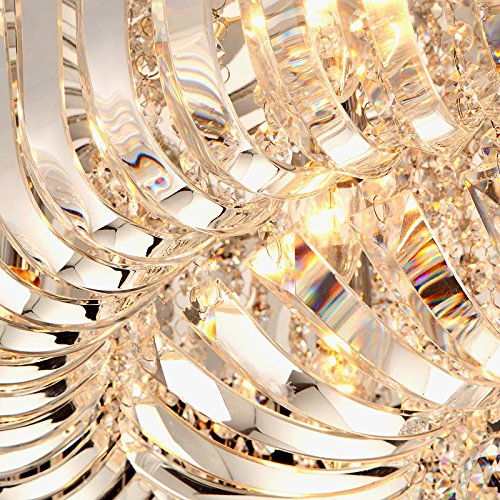 Modern Round Curved Crystal Flushmount Chandelier with Chrome Canopy Lighting Ceiling Light (Small) by Lovedima (Image #7)