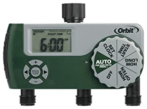 Orbit 56082 Programmable Hose Faucet Timer, 3 Outlet Green