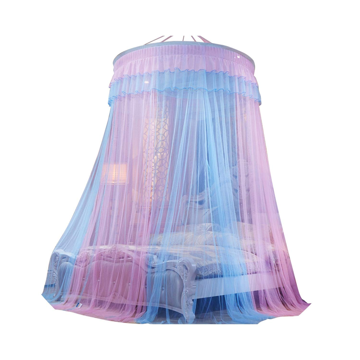 Round Dome Bed Canopy Mosquito Net Curtain Hanging Tent Mosquito Nets Cibinlik Moustiquaire for Kids Bedroom Girls Room Decor,Blue and Pink