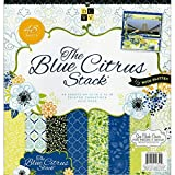 DCWV Premium Stacks, Blue Citrus with Glitter, 48 Sheets, 12 x 12 inches
