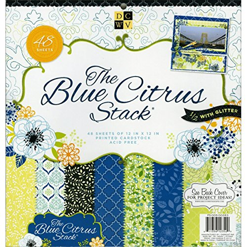 DCWV Premium Stacks, Blue Citrus with Glitter, 48 Sheets, 12 x 12 inches ()