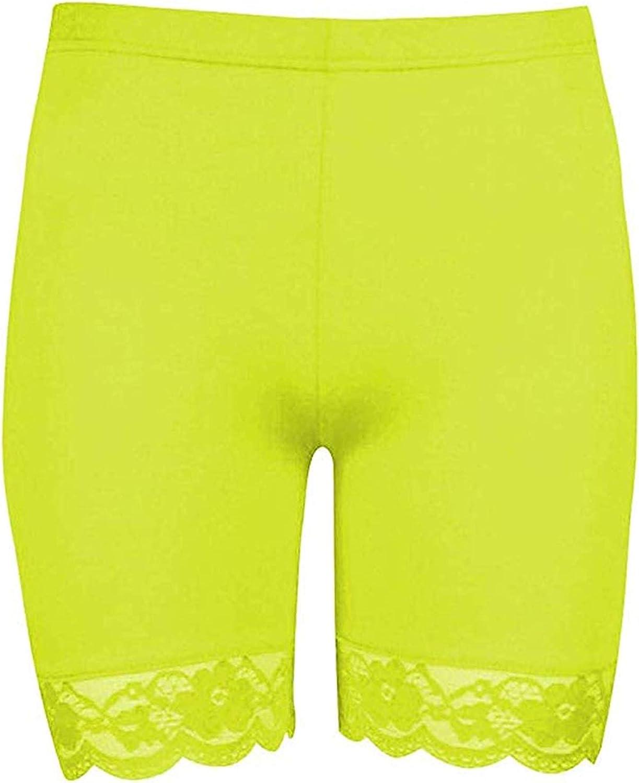 Loxdonz Womens Neon Bike Shorts Lace Trim Slip Shorts Workout Yoga Shorts Undershorts