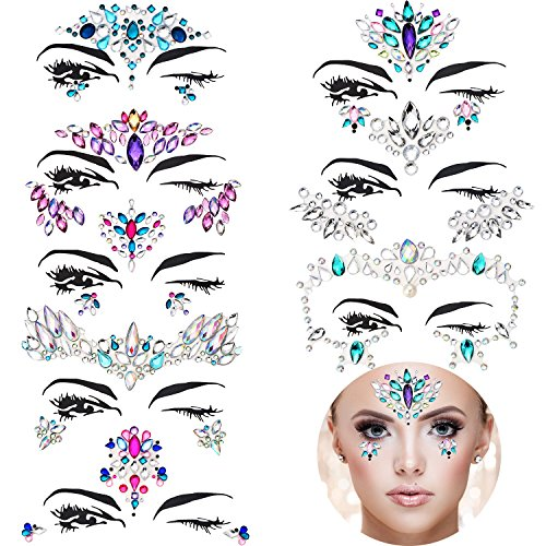 TOODOO 8 Sets Mermaid Face Gems Glitter Sticker Rhinestone Bindis Crystal Face Jewels Tattoo Forehead Decorations for Women Favors (Pattern Set 1) by TOODOO