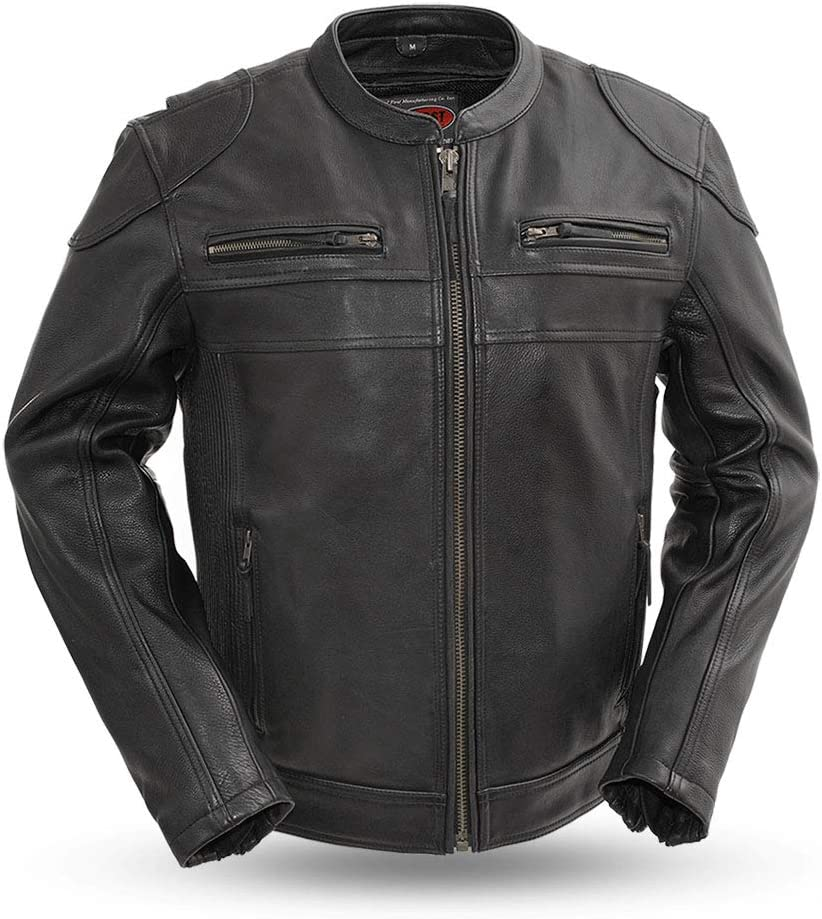First MFG Co - Nemesis Black, X-Large Mens Motorcycle Leather Jacket