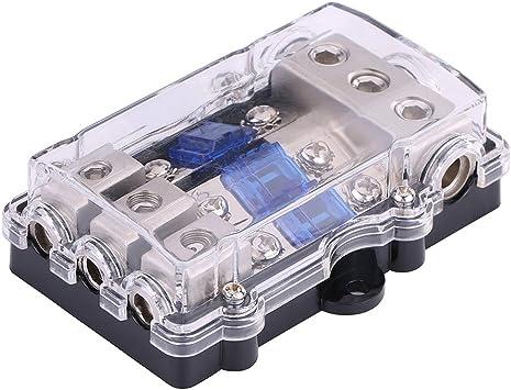 Caja de fusibles universal para fusibles, 12 – 24 V CC, kit de fusibles de audio estéreo para coche, barco, 1 en 3 vías, con fusible de 3 hojas: Amazon.es: Coche y moto