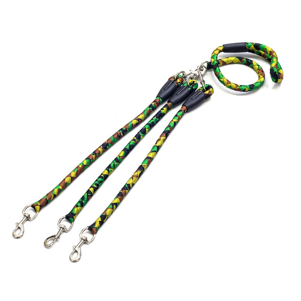 OxyPlay 3 Way Dog Leash,Heavy Duty No Tangle Adjustable Detachable Triple Dog Coupler, for 1 / 2 / 3 Medium & Large Dogs Pet