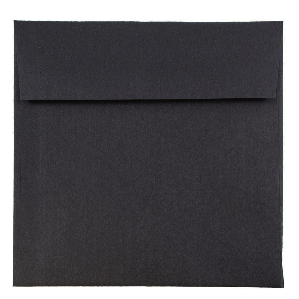JAM PAPER 6 x 6 Premium Square Invitation Envelopes - Black Linen - 25/Pack