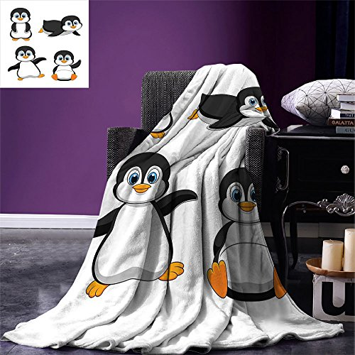 smallbeefly Baby Digital Printing Blanket Cute Penguin Cartoon Waving Standing Sliding Smiling Animal Humor Antarctica Summer Quilt Comforter Black Blue ()