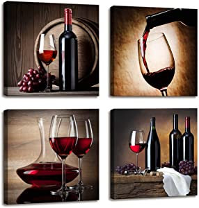 Large Canvas Wall Art Red Wine Cups HD Pictures for Dining Room Decor - 4 Panels Framed Artwork Vintage Painting Canvas Prints Wall Art for Home Kitchen Decorations Ready to Hang 16x16inch 4pcs/Set