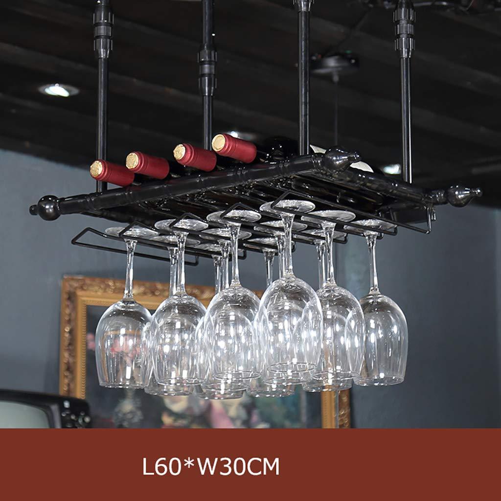 ワインラックLOFT産業風レトロ吊りワイングラスラックヨーロッパスタイルの赤ワインボトルラックゴブレットワインラックバーは、カップホルダーをぶら下げています。 (色 : A, サイズ さいず : L60*W30CM) B07H6YSYF3  A L60*W30CM