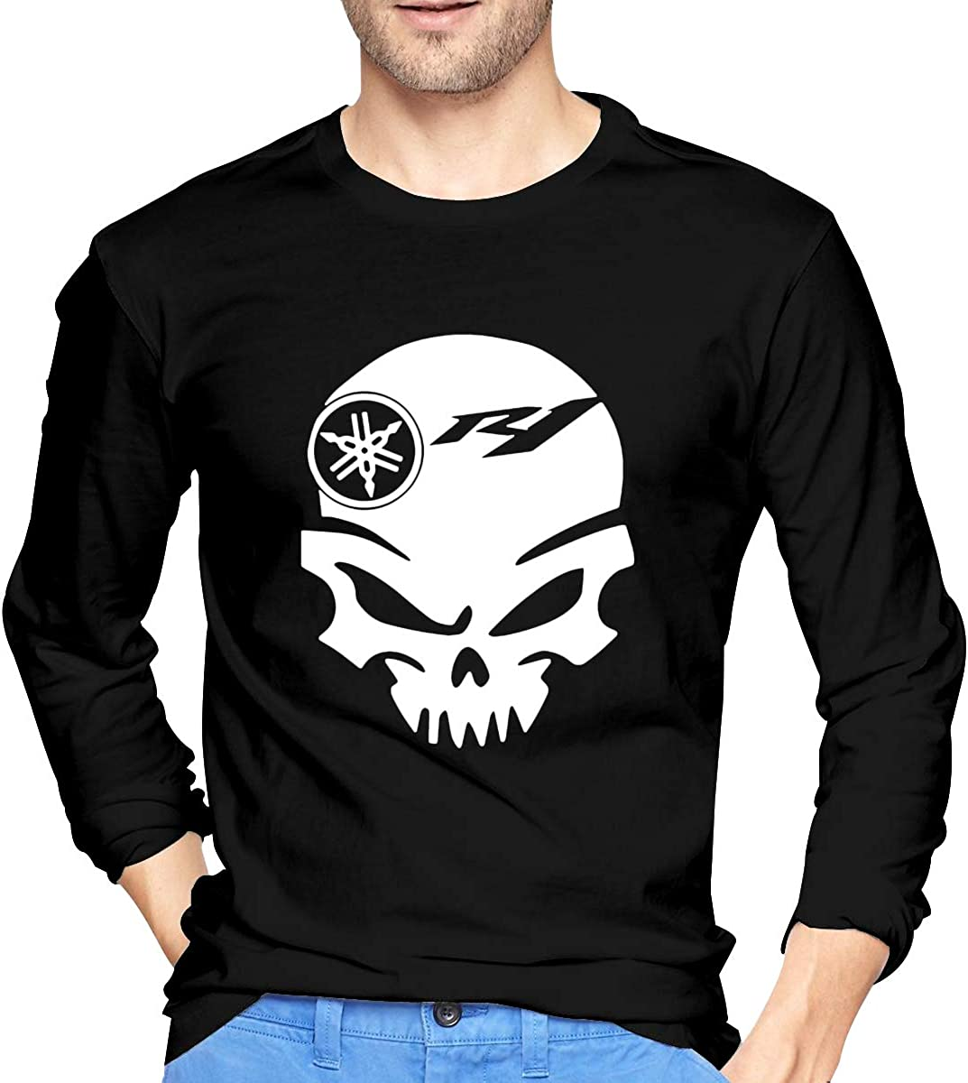 JILILY New Art Motorcycle R1 Skull Logo Fashion Shirt O-Neck Cotton for Male Black