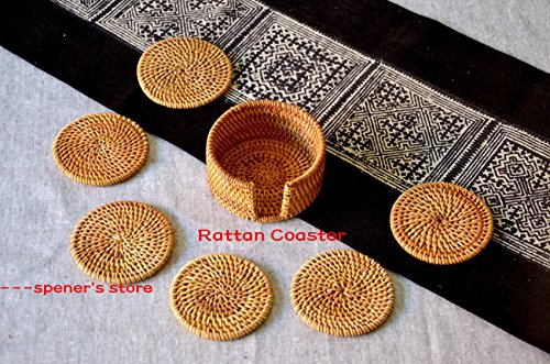 Hand-woven Rattan Coasters Round Heat Resistant Tablemat Reusable Nonslip Placemat Rustic Style Coffee Tea Bowl Cup Insulation Pad, Exotic Handmade Teacup Coasters, Creative Gift, Set of 6 (3.2inch)