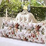 Ozzptuu Triangular Canvas Bed Rest Pillow Back Support Cushion Lumbar Pillow Washable Cover Stuffed with Pearl Cotton (SHLM3, 120x50x23cm)