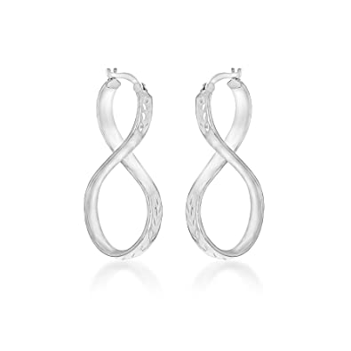 Tuscany Silver Sterling Silver Figure 8 Creole Earrings od4Hj