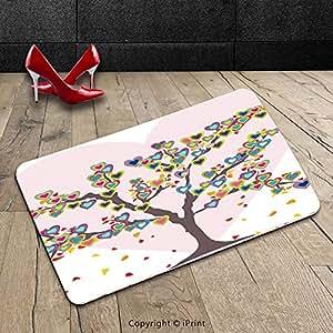 Custom lavable Felpudo (día de San Valentín Amor decoración árbol con hojas y corazones amor símbolo de celebración aniversario arte interior/al aire libre Felpudo alfombra alfombra alfombra