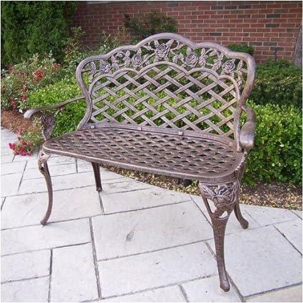 Swell Oakland Living Tea Rose Cast Aluminum Love Seat Bench Antique Bronze Bralicious Painted Fabric Chair Ideas Braliciousco