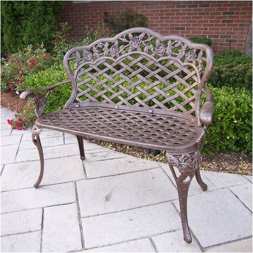 Oakland Living Tea Rose Cast Aluminum Love Seat Bench, Antique Bronze