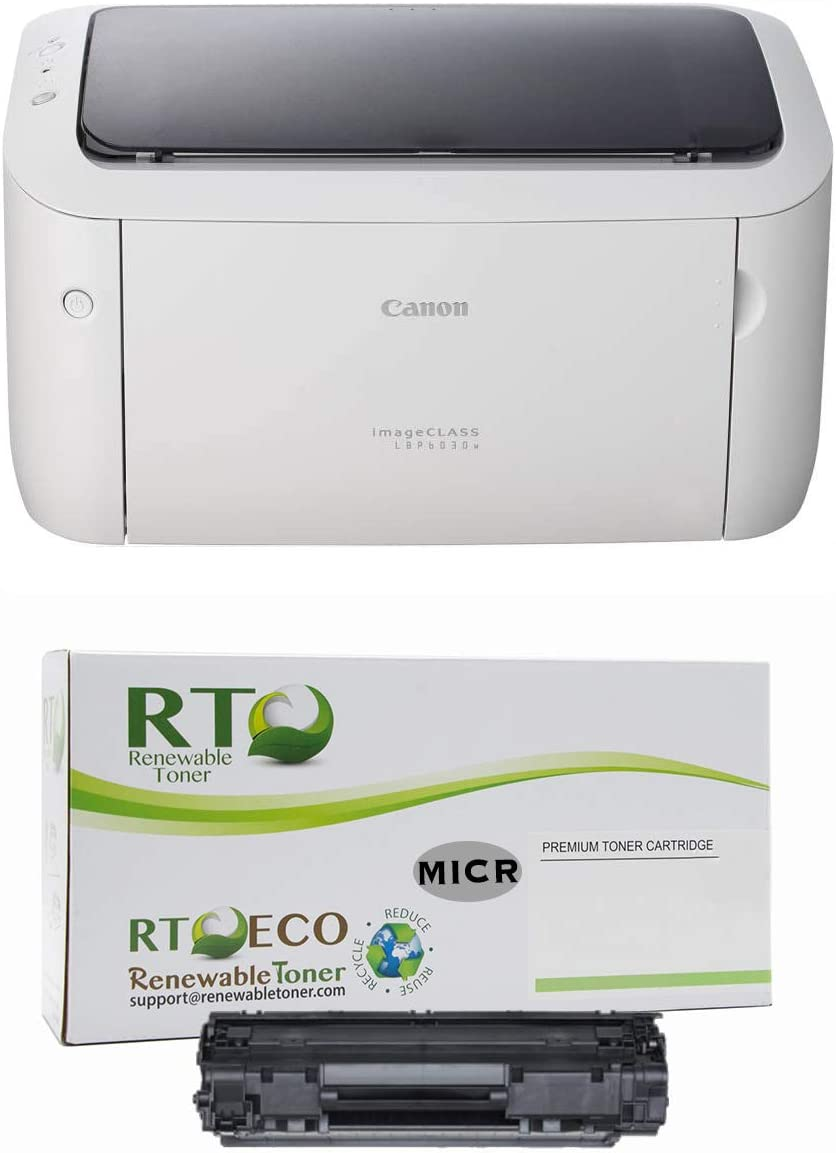 Renewable Toner ImageCLASS LBP6030W MICR Check Printer Bundle with 1 Compatible 125 3484B001AA MICR Toner Cartridge