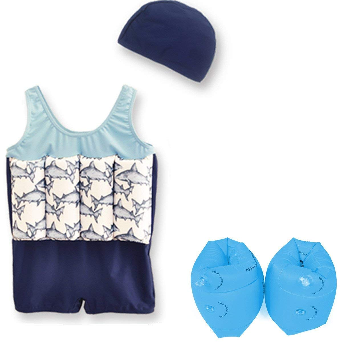 Wowelife Baby Floatation Suit with Arm Bands Toddler Floating Swimsuit with 8 Removable Buoyancy Sticks for Boys and Girls, 1-4 Years