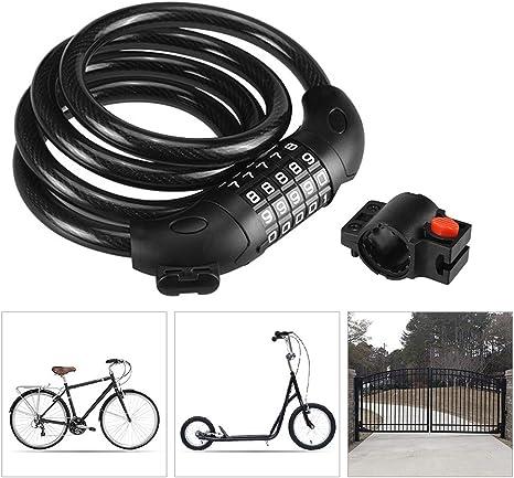 KuaiKeSport Candado Bici con Código de 5 Dígitos,Candado Bicicleta ...