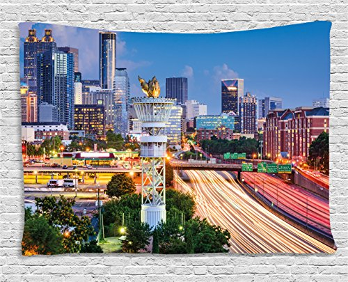 Ambesonne United States Tapestry, Atlanta Georgia Urban Busy Town with Skyscrapers City Landscape, Wall Hanging for Bedroom Living Room Dorm, 80 W X 60 L Inches, Blue Yellow -