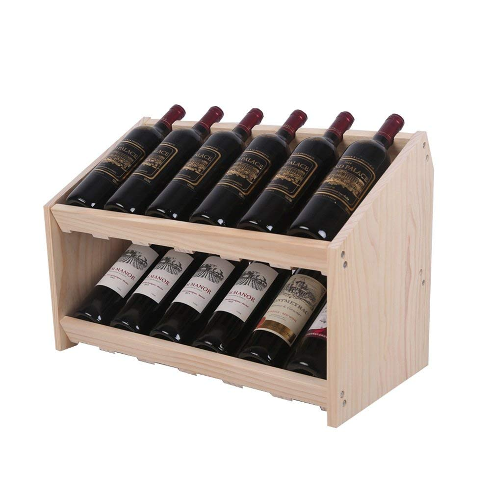Beige BMY Solid Wood Wine Rack Tilt Design Double Wine Cabinet (color   Beige)