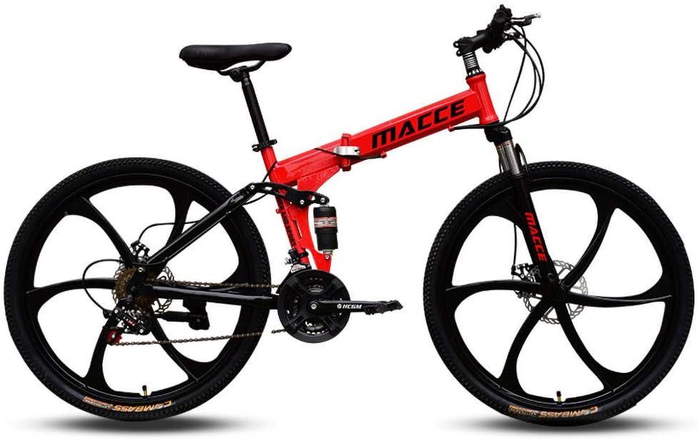 RICH-Po Folding Mountain Bicycle,26in Carbon Steel Mountain Bike Shimanos 21 Speed Bicycle Full Suspension MTB Dual Disc Brakes Mountain Bicycle
