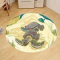 Gzhihine Custom round floor mat Turtle of Two Sea Turtles on Sandy Summer Beach Boat Grass Bottle Bedroom Living Room Dorm Light Yellow Green Teal