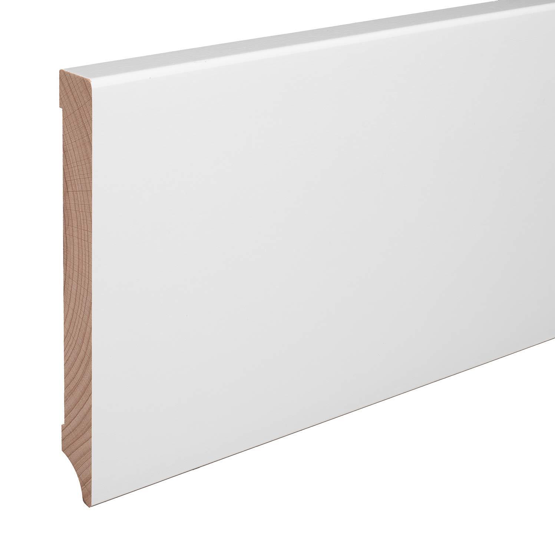 Echtholz-Sockelleisten Wei/ß lackiert Buche Massiv Weimarer Profil 60mm H/öhe, 10 St/ück // 23lfm SPARPAKET