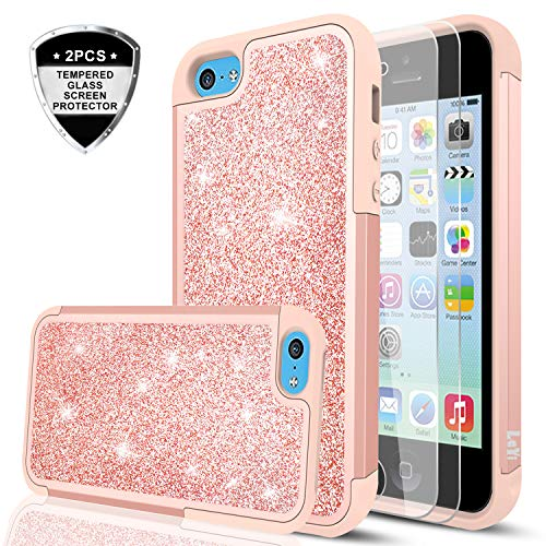 iPhone 5C Case with Tempered Glass Screen Protector [2 Pack],LeYi Glitter Bling Cute Girls Women Dual Layer Heavy Duty Protective Phone Case for iPhone 5C TP Rose Gold