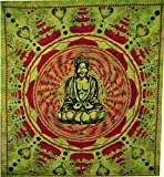 96 x 80 BEDSPREAD COVERLET WALL HANGING TAPESTRY Buddha mandala Hippy India Decor