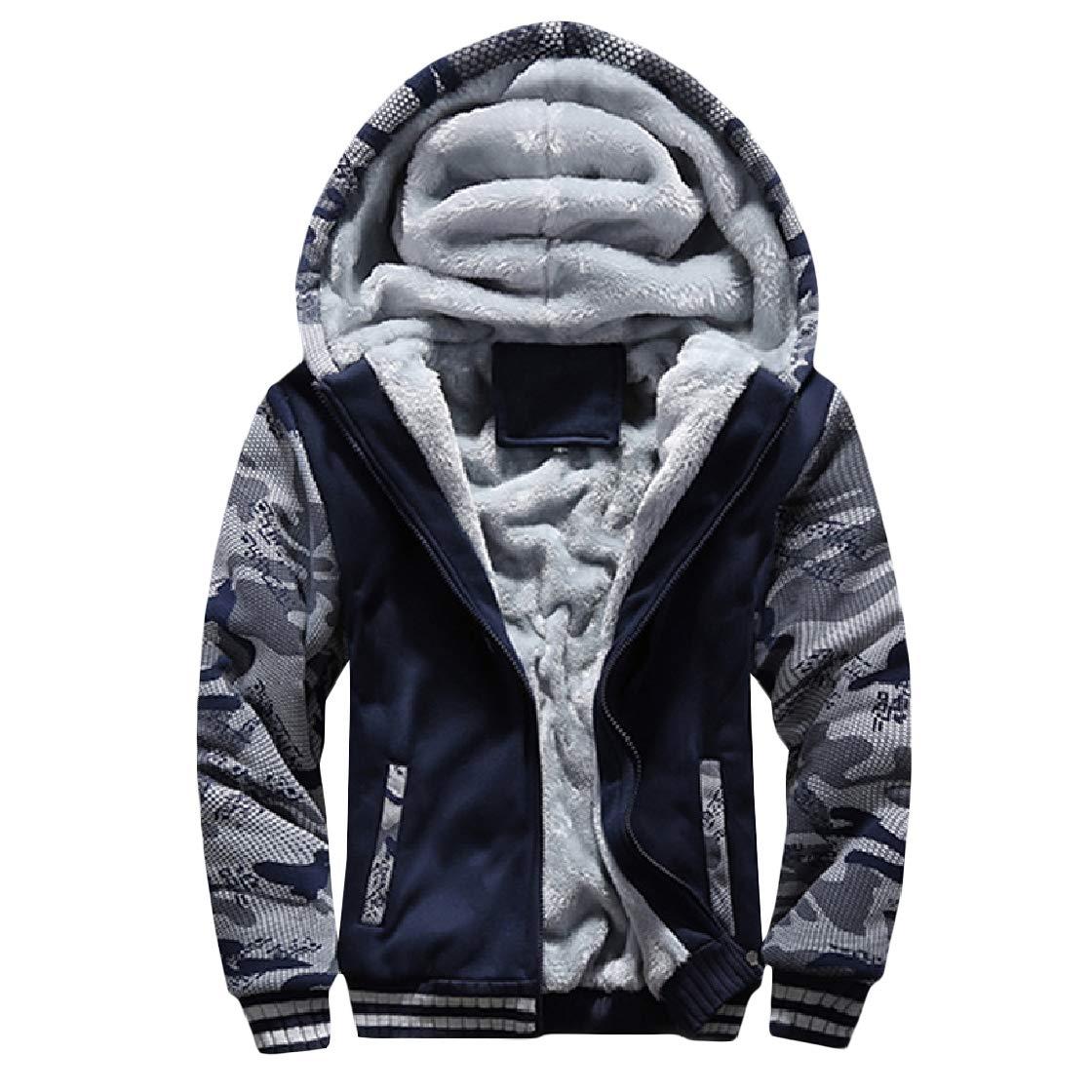 YUNY Men Warm Velvet Plus Size Patchwork Camo Hood Zip Sweatshirts Top Dark Blue S