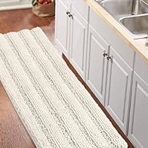 "Non-Slip Kitchen/Bath Rug Runner Luxury Chenille Shaggy Bathroom Rug Mat Ivory White Bath Mat, Ultra Soft and Cozy, Super Absorbent Large Shaggy Rugs, Washable Carpet Kitchen Mats, 59""x20"", Ivory"