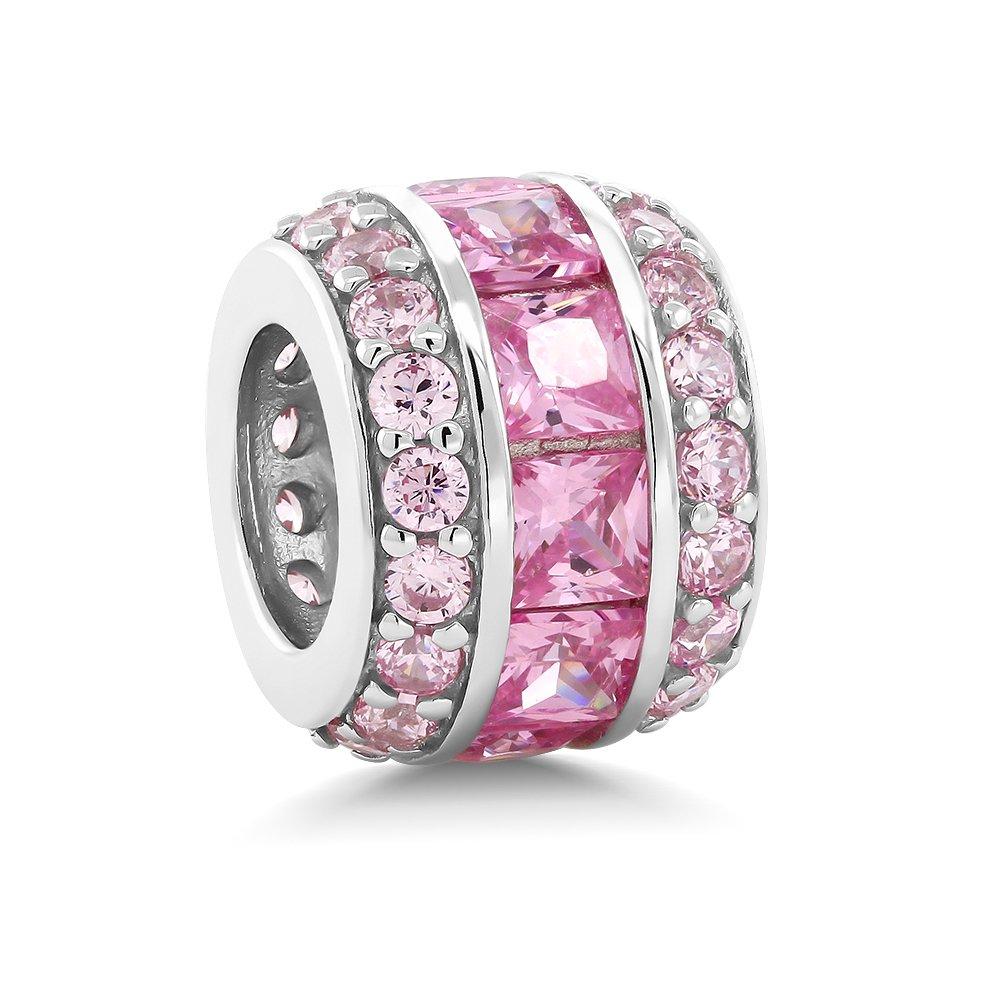 Sterling Silver Pink Cubic Zirconia 12X9MM Bead Charm Compatible W/ Pandora Bracelets
