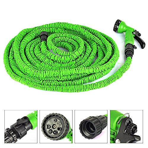New DLLL Expanding Flexible Home Garden Water Hose/Magic Flexible X Garden Water Hose With Spray Gun Car Wash Pipe Retractable Watering Telescopic Rubber Hose (7.5M, Green)