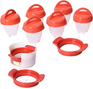 6pc Nonstick Pods Slicers Egg Boiler Poachers Steamer 3 Piece Multi Functional Egg Slicer Cutter 6 Piece Silicone Egg Cups Boilers White Red