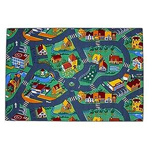 Associated Weavers - Alfombra infantil para jugar (40 x 200 cm), diseño de ciudad con carreteras