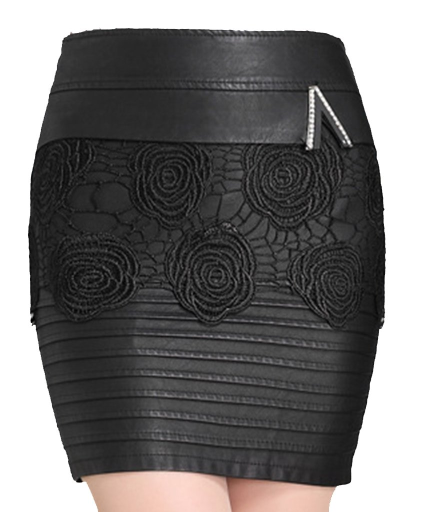 Helan Women's PU Leather Lace Rose Decorated Skirt Black US 12
