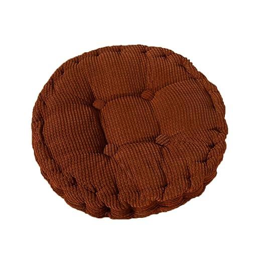 MSYOU - Cojín de asiento para silla (redondo, cómodo, para casa, cocina, jardín, comedor, oficina, 40 x 40 cm), color azul oscuro 40 * 40cm marrón