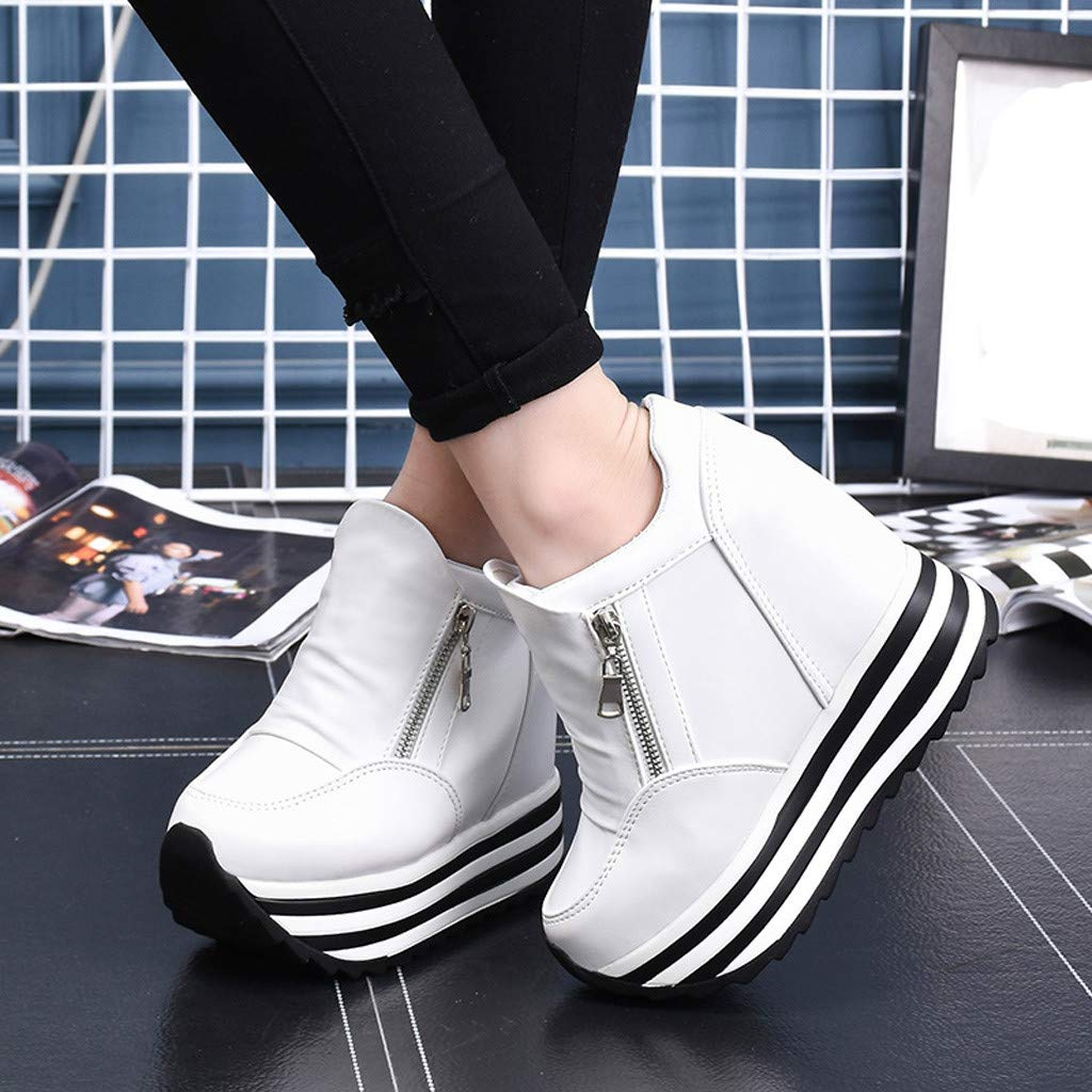 Claystyle Womens Increased Within The Higher Flat Shoes Side Zipper Casual High Heels Wedges Platform Sneaker(White,US: 7) by Claystyle Shoes (Image #3)