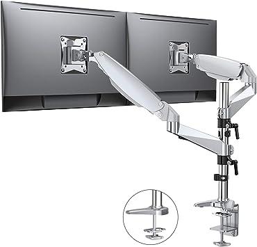ATUMTEK Soporte Doble para Monitores Cada Brazo Soporta hasta 9 Kilos Altura Ajustable para Pantallas de Ordenador de 15 a 32 Montura Brazo de Escritorio de Aluminio con Resorte de Gas