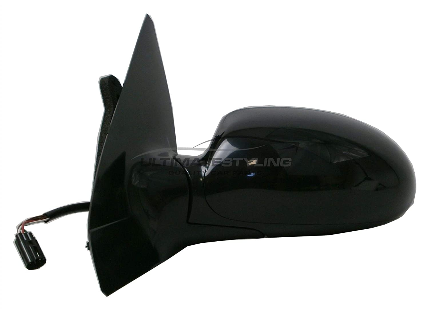 Ultimate Styling Replacement Electric None Power Folding Wing Door Mirror With Heated Glass With Black Mirror Cover Cap Side Of Product Passenger Side LH