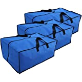 Earthwise Extra Large Storage Bag Moving Travel Tote Heavy Duty Nylon Travel Zipper Closure - Backpack Multi Use - For Storing & Transporting - Duffel Compatible with Ikea Frakta Carts (Pack of 3)