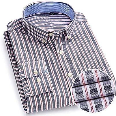 YAYLMKNA Camisa Camisa A Rayas De Manga Larga para Hombre Bolsillo De Un Solo Parche con Camisas con Botones De Yugo Trasero Plisados En Caja, 4XL: Amazon.es: Deportes y aire libre