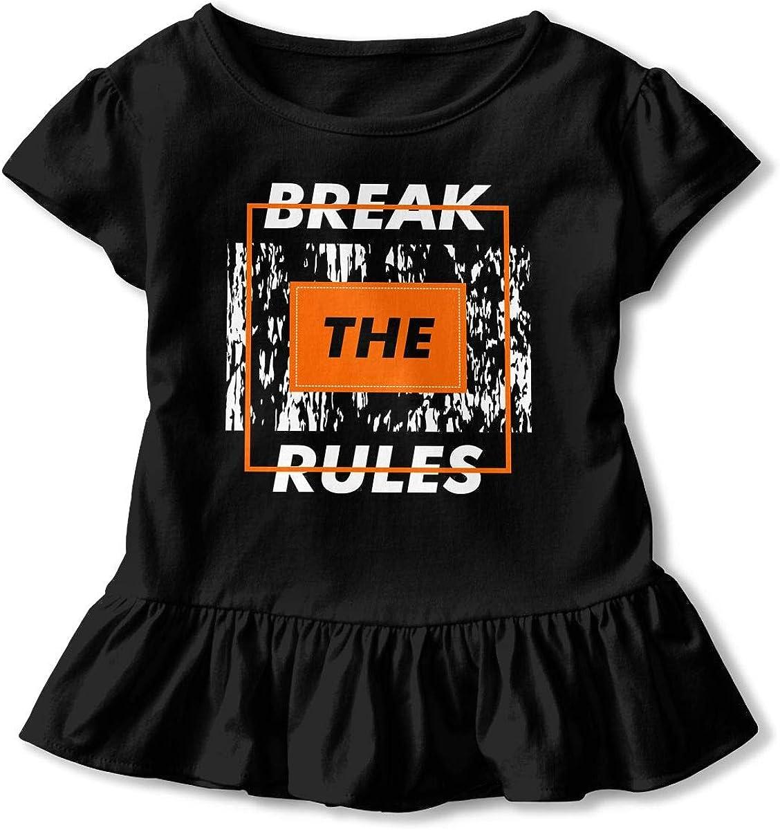Break The Rules Toddler Girls T Shirt Kids Cotton Short Sleeve Ruffle Tee