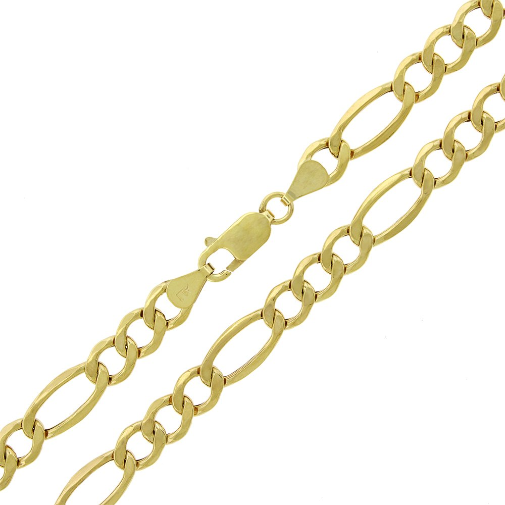 10k Yellow Gold 7mm Hollow Figaro Link Necklace Chain 20'' - 30'' (30)
