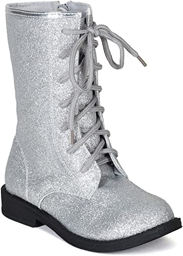 JELLY BEANS Glitter Lace Up Military
