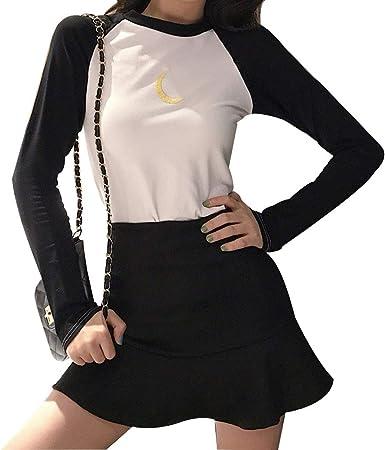 YUFAA Camiseta de Manga Larga con Bordados Lunares para Mujer + ...